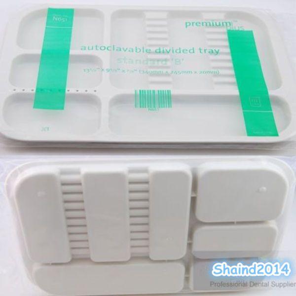 1 Pc Dental Instrument autoclavable plastic trays Standard Dividede Type White #Shaind2014