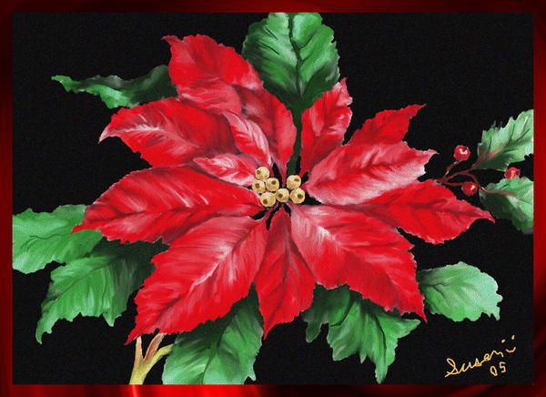 christmas poinsettia painting christmas poinsettia fine art print - Christmas Poinsettia