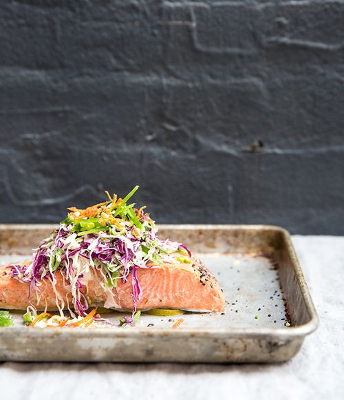 black pepper + lime baked (wild) salmon with a snap pea slaw + crispy carrots