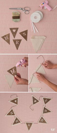 A few simple supplies will add whimsy to your wedding in our DIY Sweet and Simple Chair Banner Tutorial! #wedding - wedding ideas - DIY wedding - bride - groom - mr and mrs