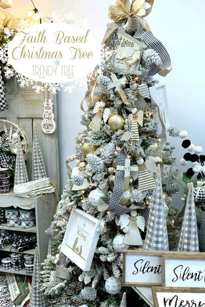 Faith Based Christmas Tree In 2020 Ribbon On Christmas Tree Christmas Tree Inspiration Christmas Tree
