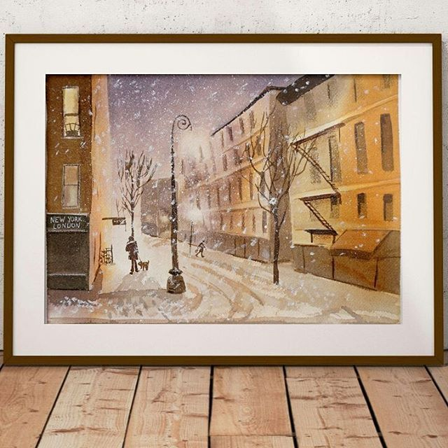 Reposting @artolgashef: Now selling: Cityscape ORIGINAL Watercolor Painting, Watercolour Street Art, Winter Cityscape Snow landscape, nature lover winter decor ideas http://crwd.fr/2xvn14q LINK TO ARTSHOP IN PROFILE #landscape #winter #art #painting #etsyshop #artforthehome #design #lifestyleart #artists #artwork