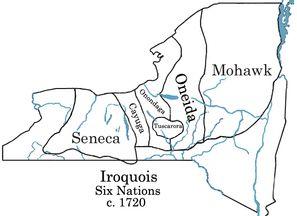 Iroquois Six Nations c. 1720. (Mohawk, Oneida, Onondaga, Cayuga, Seneca, Tuscarora). Wikipedia