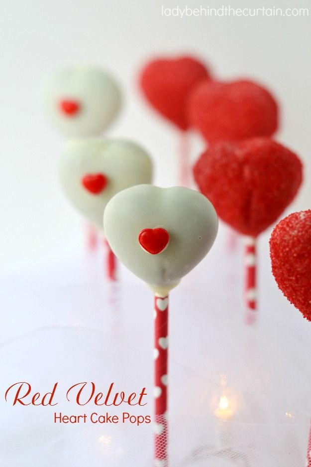 red velvet heart cake pops the perfect valentines day dessert these pops have a - Valentines Sweets