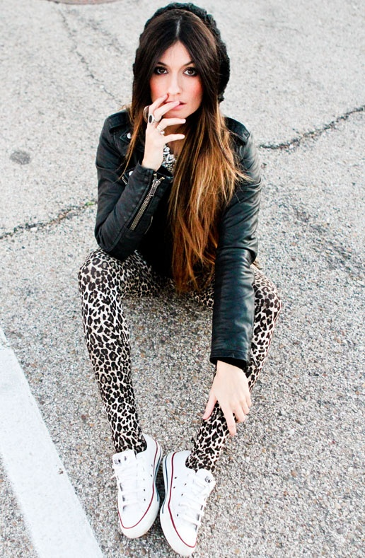 have the jacket and the knited beanie, just need the tiger print leggings, converse