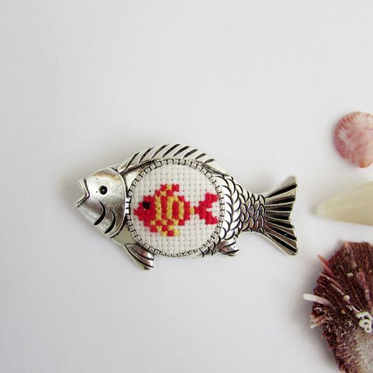 Brooch - Future replenishment/ with fish/ embroidery 2sm /200.00 UAH