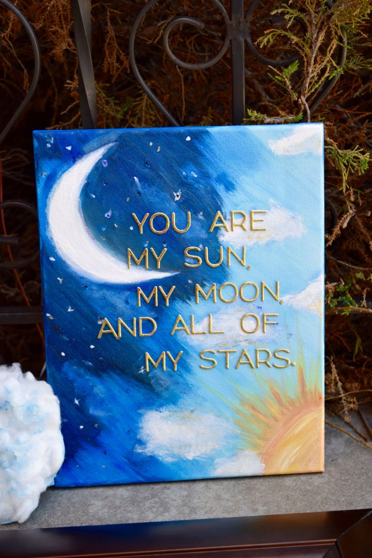 You are my sun, my moon, and all of my stars - Baby Room Painting -  Light up Canvas - Baby Shower Gift - Nightlight - 11 x 14 Canvas - Moon by InkOrchidLLC on Etsy