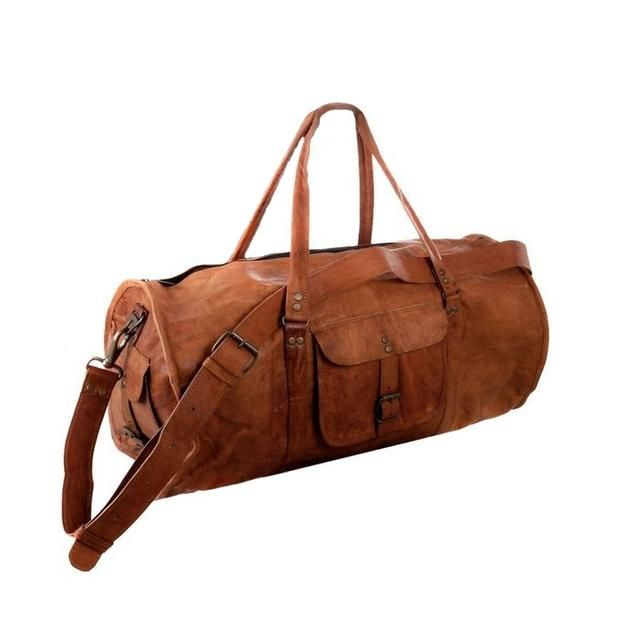Men s Light Brown Round Leather Duffel Bag - Fly Jesse  79eebe779320f