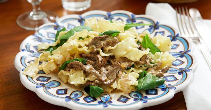 Festlig pasta med strimlad biff i läcker sås med smak av svamp och tryffelolja. Lyxa till pastan med oxfilé och variera rätten med valfritt nötkött.