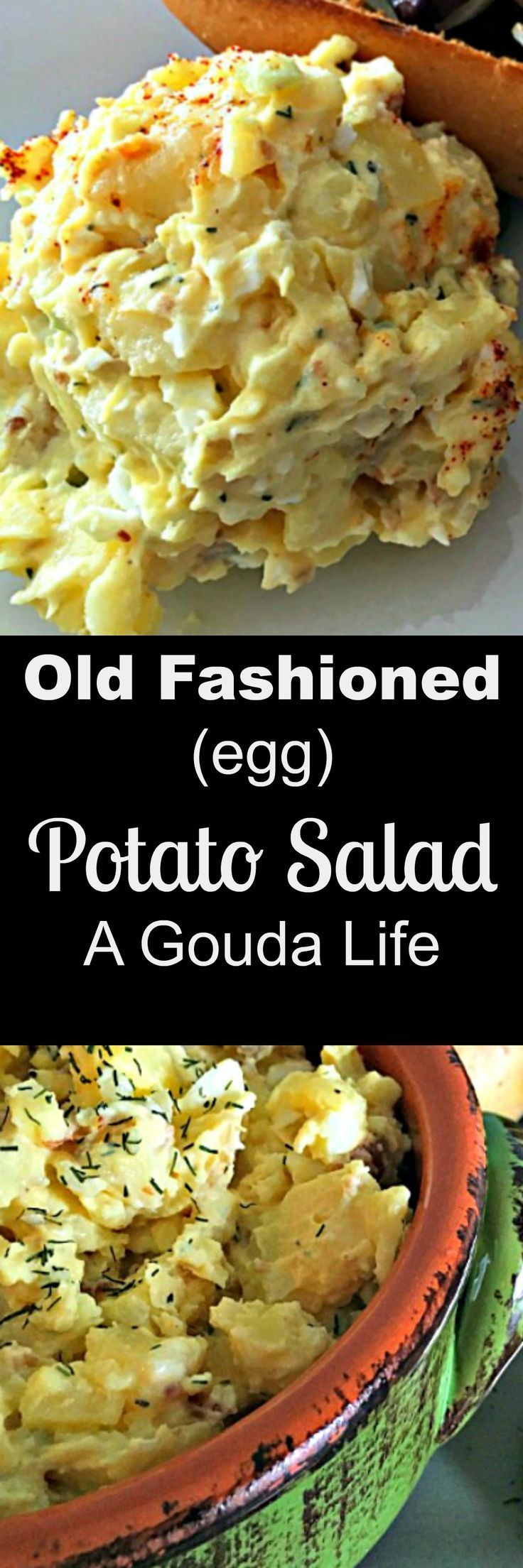 Old fashioned picnic potato salad ~ potatoes, hard-boiled eggs, real @Hellmann's mayonnaise and just a few other ingredients. This is the potato salad of your childhood. via @agoudalife