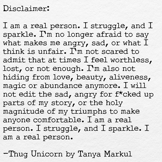 I am a real person. I struggle, and I sparkle. @thugunicorn @theurbanhowl…
