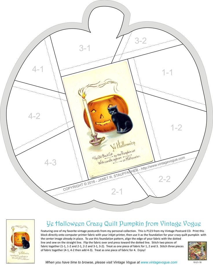 Ye Halloween crazy quilt pumpkin design posted on Janet Stauffacher's Nostalgic NeedleART blog on 10/21/16.