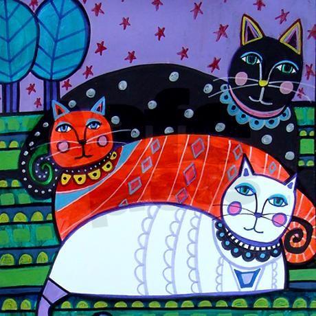 Cat Folk Art by Heather Galler Tile Coaster