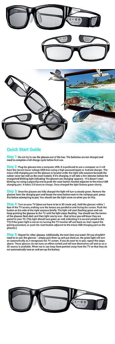 3D TV Glasses and Accessories: 2X Pair Samsung Rechargeable 3D Active Glasses, Black -> BUY IT NOW ONLY: $30.44 on eBay!