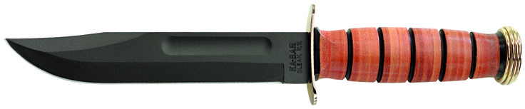 """KA-BAR #1215 U.S.M.C.  Marine special presentation knife was designed to celebrate a home coming, promotion, transfer, retirement, or any special occasion. It is an outstanding keepsake gift for any marine. This is the United States Marine Corp version of the original legendary U.S.M.C. knife offering a full size 7"""" flat ground full tang blade with the original straight edge and has gold plated over brass guards and butt cap. Knife comes with USMC EGA sheath. www.tomarskabars.com"""