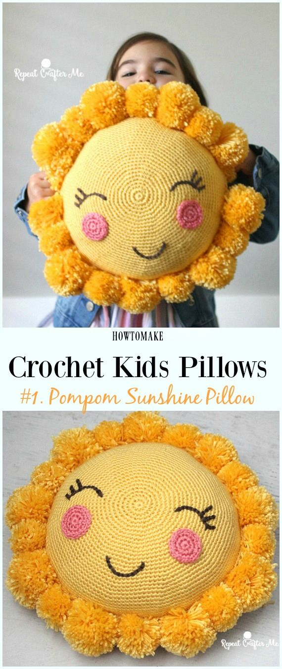 Crochet Pompom Sunshine Pillow Free Pattern -Fun #Crochet Kids #Pillows Free Patterns