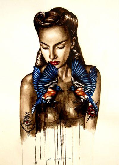 """""""BLUE BIRDS""""  Watercolor on Paper - 60x80 - 2013 - Angela Di Folco"""