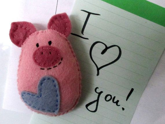 Felt Pig Magnet Funny Valentine Cute Fridge by SofiaArtPlace