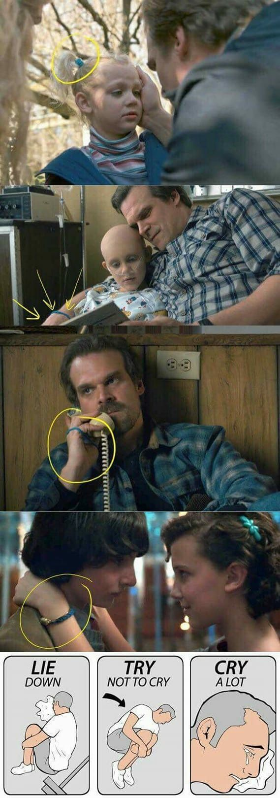 Hopper wears it a lot in both seasons. Besides on El' s wrist at the snowball, it was on Hopper's wrist when he radioed El to apologize and tell her he will be home soon. It's so cute that he gave it to El to wear to the snowball