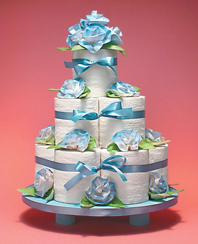 Toilet paper cake instructions in toilet paper crafts Toilet paper roll centerpieces