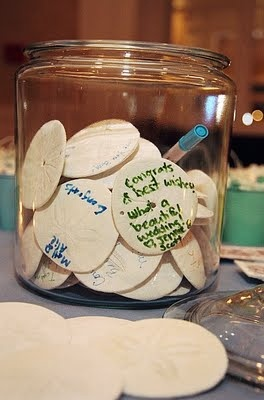 beachy twist on guest book - using sand dollars!