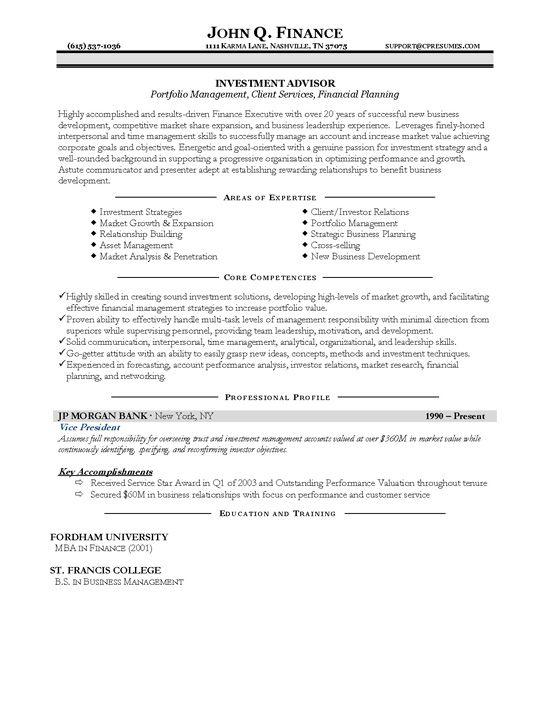 Investment Advisor Resume Example