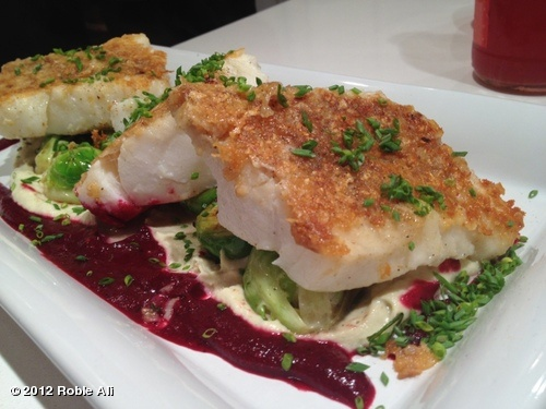 Chef Roble's Potato Chip Crusted Cod with Artichoke Purée and Berry-Beet Emulsion.