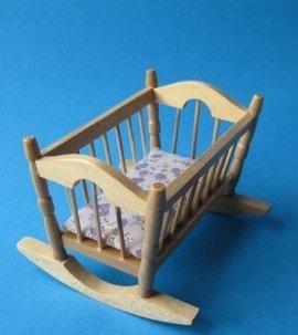 Puppenwiege Eiche Hell Puppenhausmöbel Miniatur 1:12 Von Creal, Http://www