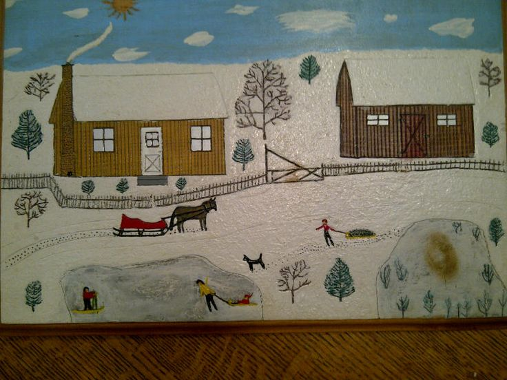 Winter scene by the same artist. Great naive quality to the painting on board with incised details.