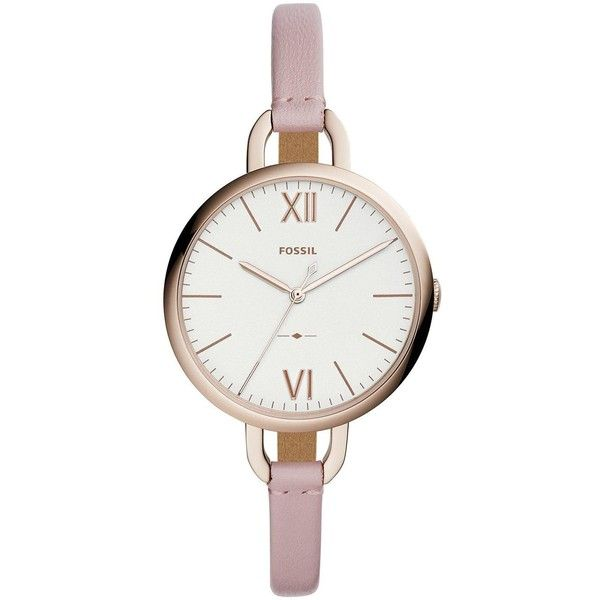 Fossil Fossil Ladies Watch Pink Leather Strap, Rose Gold Tone Case (680 ILS) ❤ liked on Polyvore featuring jewelry, watches, fossil jewelry, roman numeral wrist watch, fossil jewellery, rose gold tone watches and round watches