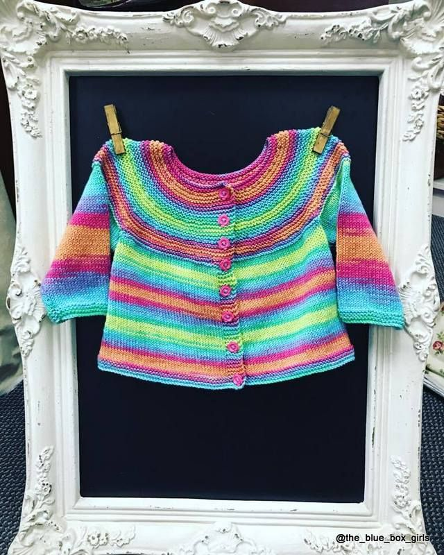 Knit this gorgeous pattern for a 1-2 year old. PDF Pattern 'Easy All In One Cardigan'