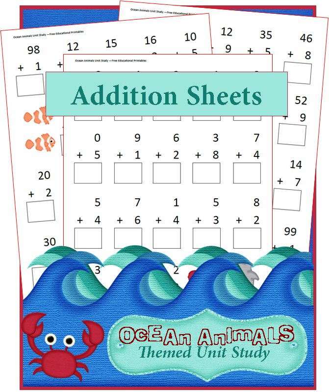 Ocean Addition Sheets - From single digits to carrying, these Ocean Animals Unit Study addition worksheets are perfect for your earlier elementary grades!  My Thomas (8) has also used them to fix summer drain!  Math is one of those things that gets better with practice, so I like to have tons of manipulatives and printables to help Tank practice, practice, practice!