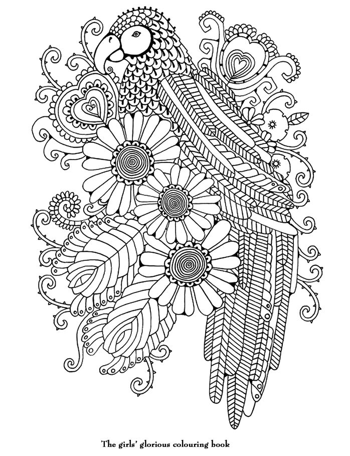 parrot flower Abstract Doodle Zentangle Coloring pages