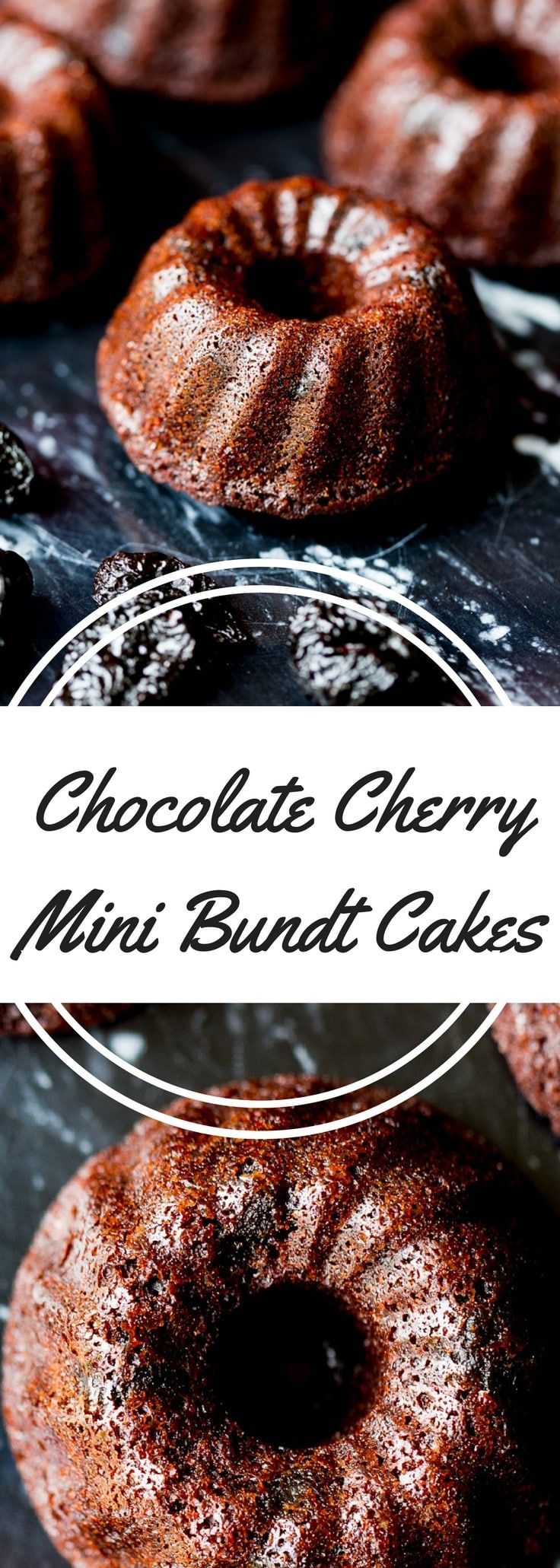 Chocolate cherry mini bundt cakes are made with pure cocoa and dried sweet cherries (soaked in a surprising ingredient to bring out the flavor). via @recipeforperfec sponsored by @7UP #MixItUpALittle