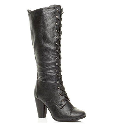 Femmes haute talon large lacets genou mollet motard bottes militaires pointure: Amazon.fr: Chaussures et Sacs