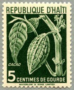 Cacao, postal stamp   Republique d' Haiti, 1951