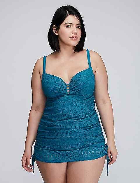 Crochet Swim Tankini Top with Built-In Balconette Bra Plus Size Swimsuit
