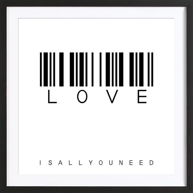 Black and white typography. Barcode LOVE Art Print by Steffi Louis now on Juniqe.com | Art. Everywhere.
