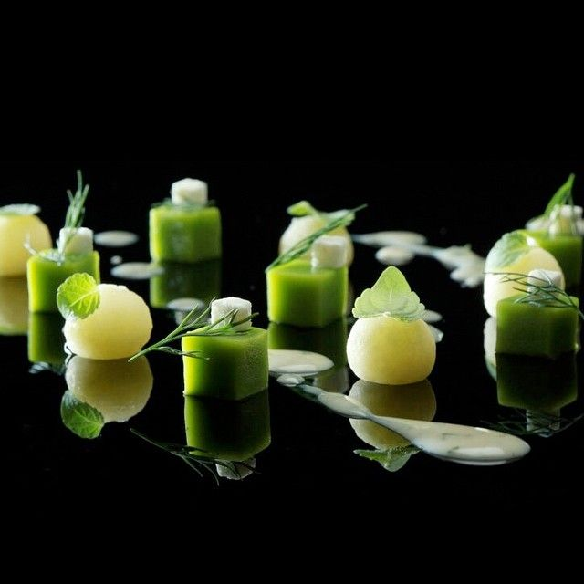 """""""Squaring the Pea"""" with peas, feta cheese, potatoes and dill by restaurant Funky Gourmet from Athens, Greece #TheArtOfPlating"""