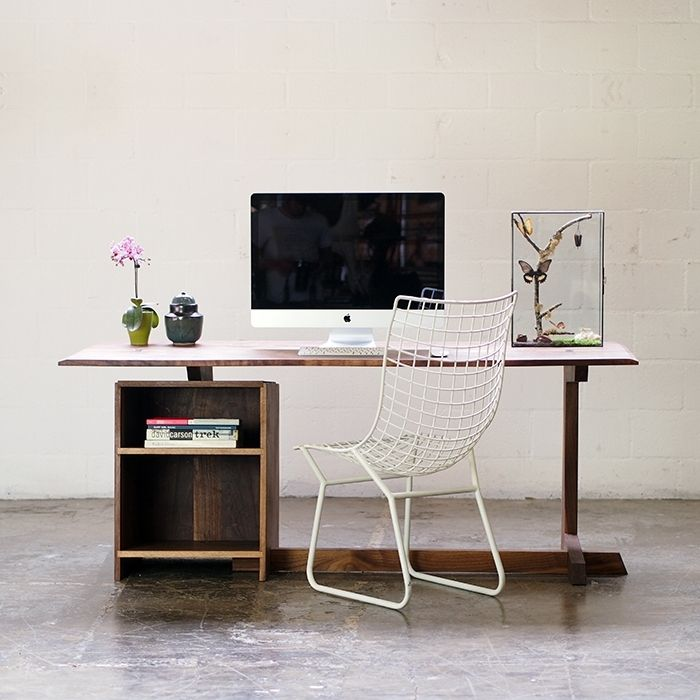 Mid-century Inspired Solid Black Walnut Desk That Can Be