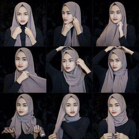 Dies ist ein grundlegender alltäglicher Hijab-Stil, bei dem ein wunderschöner grauer …   – Abaya 's