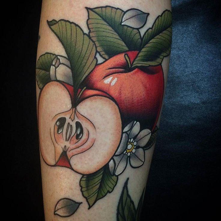 Apple tattoo by @kotynymantattoo at Heart & Soul Tattoo in East Greenville PA #kotynymantattoo #kotynyman #heartandsoultattoo #eastgreenville #pennsylvania #appletattoo #applecoretattoo #fruittattoo #traditionaltattoo #tattoo #tattoos #tattoosnob