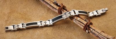Valentines day gift for him. A. Metals Men's Stainless Steel Cross Link Bracelet Standout black cross and double-rope design Ideal for both casual and formal attire Durable stainless steel links Let the standout design of the Landstrom's Men's Cross-Link Bracelet add appeal to your casual or formal attire. Stylish black crosses with double-rope design.
