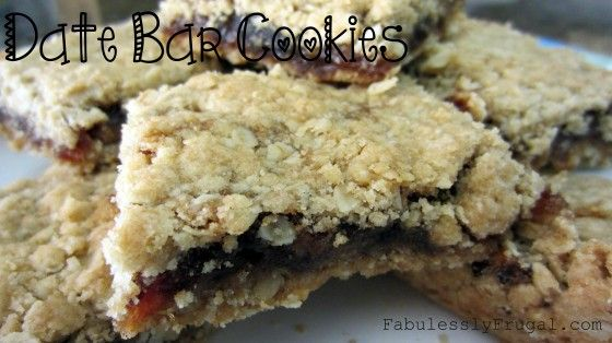 A sweet, gooey date filling between a delightful crust. Mmm.    http://fabulesslyfrugal.com/2012/10/grandma-dorothys-date-bars-recipe.html