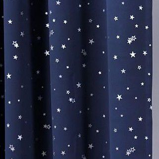 outer space style navy cotton blackout curtains with stars two panels