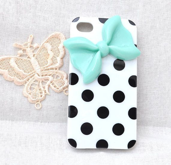 #Cutest #iPhone case Black dots white soft TPU Silicone case for iphone 4 4S or 5 protective cover with mint resin bow...