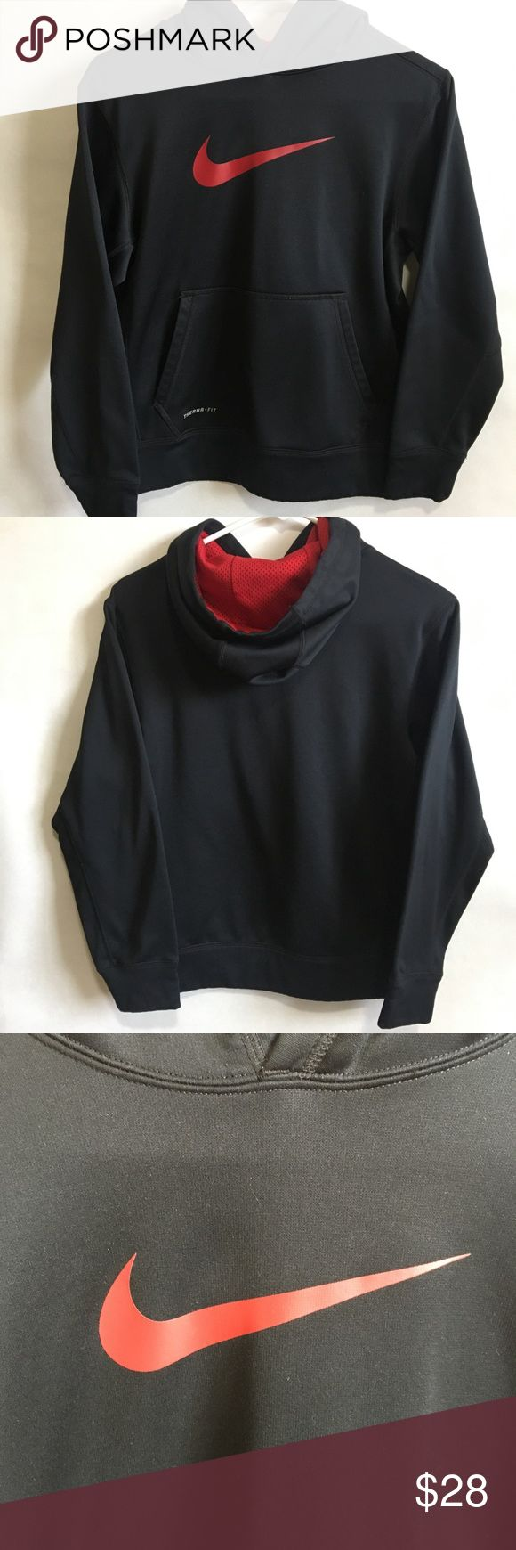 Nike Hoodie Black and red Nike hoodie.  Large front pocket.  Excellent condition.  No snags, holes or marks.  Therma-fit. Nike Shirts & Tops Sweatshirts & Hoodies