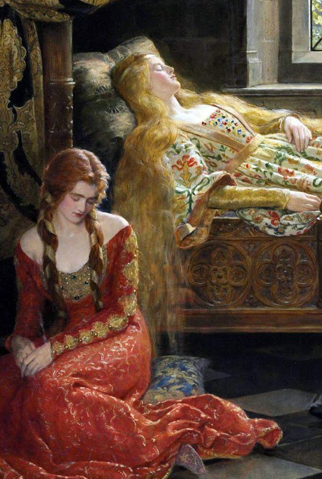 John Collier,Sleeping Beauty,1921,detail, Sleeping Beauty's Handmaid.