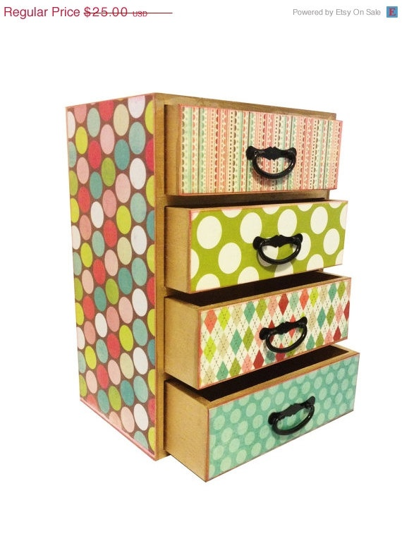CLEARANCE SALE Jewelry Box SALE - Jewelry Box With Drawers - Colorful Jewelry Box Organizer Chest with Four Drawers