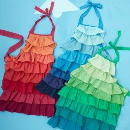 ruffle-apron - dye a canvas apron from craft store & sew on different shades of color, t-shirts would be cute.